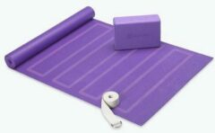 Paarse Gaiam - Yoga beginners set - Yogamat, foamblok, yogariem