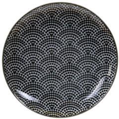 Witte Tokyo Design Studio - Nippon Black Dessertbord - Stippen - 16x2cm