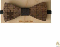 Bruine Lay3rD Lasercut - Houten Vlinderdas - Strikje Puzzelstukken - Donkere Walnoot - Zwart Leer
