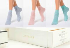 AXELLES 3-paar set sokken in zacht viscose, blauw/roze/turquoise, maat 36-37 (23).