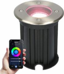 Roestvrijstalen HOFTRONIC Smart WiFi LED Grondspot - Maisy - Rond - RVS 5.5W - RGBWW - IP67 straal waterdicht - 3 jaar garantie