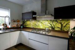 Donkergroene SoWhat-design Keuken achterwand: Bladerdak 305 x 50 cm