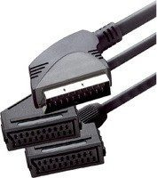 Zwarte Scanpart Splitterkabel Scart(M)-2xScart(F) 0,2m