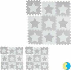 Relaxdays 27 x puzzelmat ster - speelmat - speelkleed - vloerpuzzel - speeltapijt – grijs