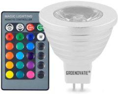 Groenovatie LED Spot GU5.3 / MR16 Fitting - 3W - RGB - 53x50 mm - Dimbaar - Incl. Afstandsbediening