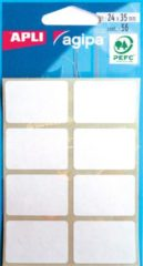 Agipa witte etiketten in etui ft 24 x 35 mm (b x h), 56 stuks, 8 per blad