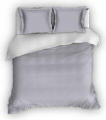 Warme Flanel Eenpersoons Dekbedovertrek Uni Grijs/Wit | 140x200/220 | Hoogwaardig En Zacht | Ideaal Tegen De Kou