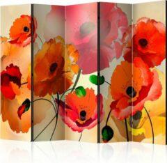 Rode Artgeist 3D Tapijt Vouwscherm - Kamerscherm - Scheidingswand - Velvet Poppies II [Room Dividers] 225x172 - 3D Tapijt