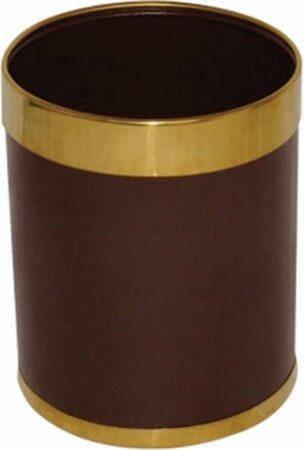 Afbeelding van Zwarte Bolero prullenbak bruin met gouden rand 10,2ltr