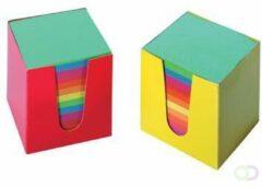 Memoblok kubus gekleurd kartonnen bakje