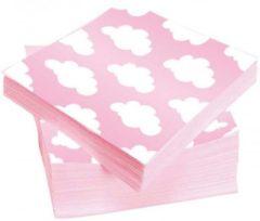 Haza 20x Wolken geboorte meisje thema servetten 33 x 33 cm - Papieren wegwerp servetjes - Geboorte meisje/roze/witte wolken kraamfeest/versieringen/decoraties