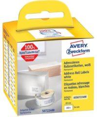 Avery-Zweckform Rol met etiketten Compatibel vervangt DYMO, Seiko 99012, S0722400 89 x 36 mm Papier Wit 260 stuk(s) Permanent Adresetiketten ASS0722400