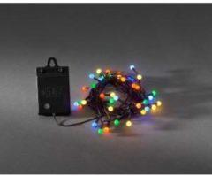 Zwarte Konstsmide - LED snoer cherry op batt timer 80x - multicolor