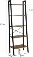 Bruine VASAGLE, vintage boekenkast met 5 planken, met metalen frame, eenvoudige montage, voor woonkamer, slaapkamer, keuken