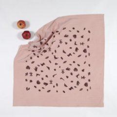 BORO*MINI hydrofiele doek XXL - Meekrap roze met print