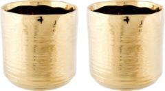 Goudkleurige Cosy @ Home 2x Gouden ronde plantenpotten/bloempotten Cerchio 13 cm keramiek - Plantenpot/bloempot metallic goud - Woonaccessoires