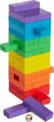 Relaxdays blokkenspel gekleurd - stapeltoren - houten toren spel - blokkentoren stapelspel