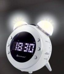 Soundmaster UR140WS UKW Uhrenradio mit Projektion und dimmbaren Nacht- und Aufwachlicht - weiß