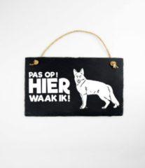 Zwarte Paper dreams Wandbord van Leisteen - met Spreuk: - Herdershond - Pas op! HIER waak ik! - Tekstbord