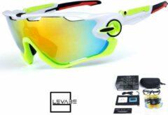 Levabe | Outdoor bril | wielrennen | VERSTELBAAR | fietsbrillen | gepolariseerde glazen| sport | mountainbike bril | WIT/GROEN