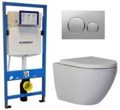 Douche Concurrent Geberit UP 320 Toiletset - Inbouw WC Hangtoilet Wandcloset - Shorty Sigma-20 Mat/Glans Chroom