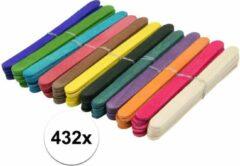 432x gekleurde knutselhoutjes 11 cm - knutselstokjes - hobby houtjes artikelen
