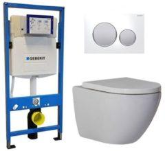 Douche Concurrent Geberit UP 320 Toiletset - Inbouw WC Hangtoilet Wandcloset - Shorty Sigma-20 Wit Mat Chroom