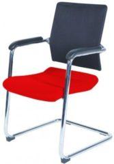 Rode Schaffenburg serie 045 conferentiestoel, sledeframe verchroomd staal, voorzien van soft armpads. 1 jaar garantie