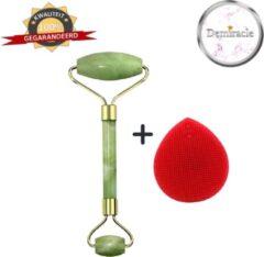 Demiracle Jade Face Roller met Rode Siliconen Gezichtsborstel - Cadeau - Gezichtsroller - Massage Roller - Jade Roller - Rimpelverwijdering - Ontspanning - Kwaliteit