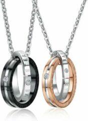 Gouden TrendFox Eternal Love Ketting Set | Liefdes Cadeau | Romantisch Cadeau | Koppel Cadeau | Relatie Cadeau | Kettingen | Zwart