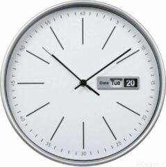 Zilveren HOOMstyle wandklok River - rond - met dag en datum - 30cm