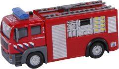 2-Play brandweer tankauto pull-back met licht en geluid 12 cm rood