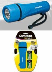 Camelion rubber zaklamp inclusief 2x D R20 batterijen - Blauw