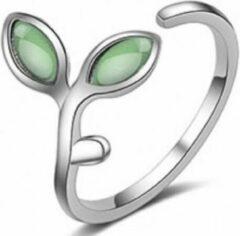 Charme Bijoux Zilveren- verstelbare -Groen- Blaadje- ring