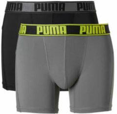Gele PUMA Active Style Boxershort - 2-pack - Zwart/Grijs - Maat XXL
