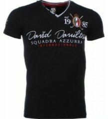 Zwarte T-shirts David Mello Italiaanse T-shirt - Korte Mouwen Heren - Borduur Squadra Azzura