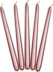 Goudkleurige Merkloos / Sans marque 10x stuks Dinerkaarsen rosé goud 24 cm - 5 Branduren - Kandelaar kaarsen
