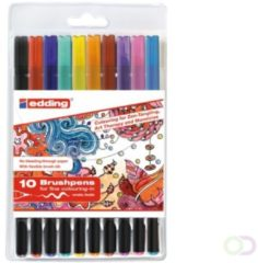Lichtblauwe Edding Brushpennen - 10 kalligrafiepennen in plastic etui - Flexibele, penseelvormige punt