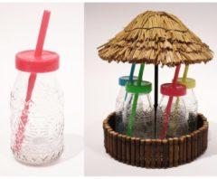 Trinkglas-Set Hawaii HTI-Living Klar, Mehrfarbig