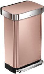 Goudkleurige Simplehuman Rectangular met Liner Pocket Afvalemmer RVS - 45 liter