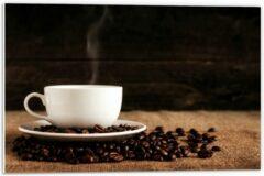 Beige KuijsFotoprint Forex - Kopje Koffie met Koffiebonen - 60x40cm Foto op Forex