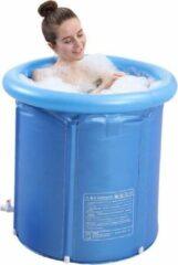 Blauwe Opblaasbaar B.V Opblaasbaar Bad - 1 Persoons Balkonbad - Bad / Tub met afvoerslang en opblaasbare rand - met comfortable zitting - opzet bad - 75x80cm - Ijsbad / ijschallenge