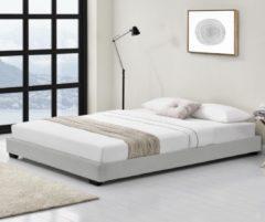 Corium Houten bed Laag kunstleer met bedbodem 140x200 cm wit