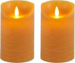 Anna's Collection 2x Oker Gele Led Kaarsen / Stompkaarsen 12,5 Cm - Luxe Kaarsen Op Batterijen Met Bewegende Vlam