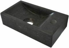 Korver Holland Wiesbaden B-stone hardstenen fontein kraangat rechts 36x18x9 cm, zwart