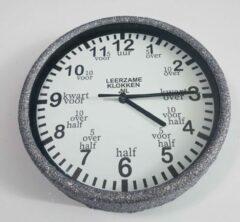 Leerzameklokken.nl Leer klokkijken-leerzame kinder klok- glitter wandklok zilver/wit 20 cm