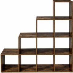 VASAGLE-traprek, boekenkast met 10 kubussen, ladderrek, kubusrek, vrijstaand rek, ruimteverdeler, voor kantoor, woonkamer, slaapkamer, vintage, donkerbruin