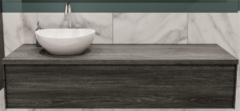 Boss & Wessing Badkamermeubel BWS Madrid Washed Oak 150 cm met Massief Topblad en Keramische Waskom Links (1 kraangat)
