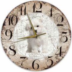 Bruine Creatief Art Houten Klok - 30cm - Hond - Malteser