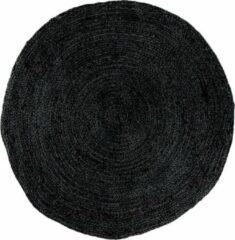 Hioshop Broom vloerkleed Ø180 cm in jute donkergrijs.